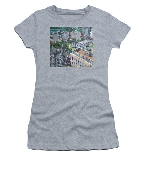 Original Contemporary Cityscape Painting Featuring Virginia State Capitol Building Women's T-Shirt (Athletic Fit)