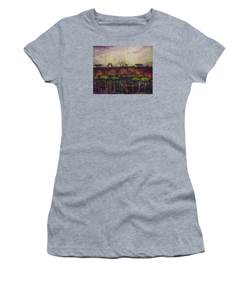 Women's T-Shirt (Junior Cut) featuring the painting Other World 4 by Ron Richard Baviello