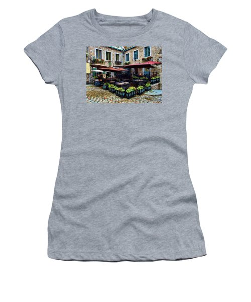 Outdoor French Cafe In Old Quebec City Women's T-Shirt