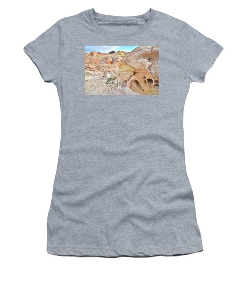Overlooking Wash 5 In Valley Of Fire Women's T-Shirt (Junior Cut) by Ray Mathis