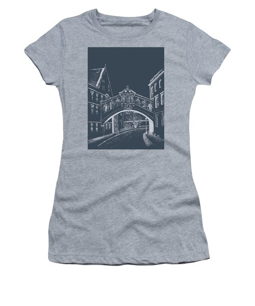 Women's T-Shirt (Athletic Fit) featuring the digital art Oxford At Night by Elizabeth Lock