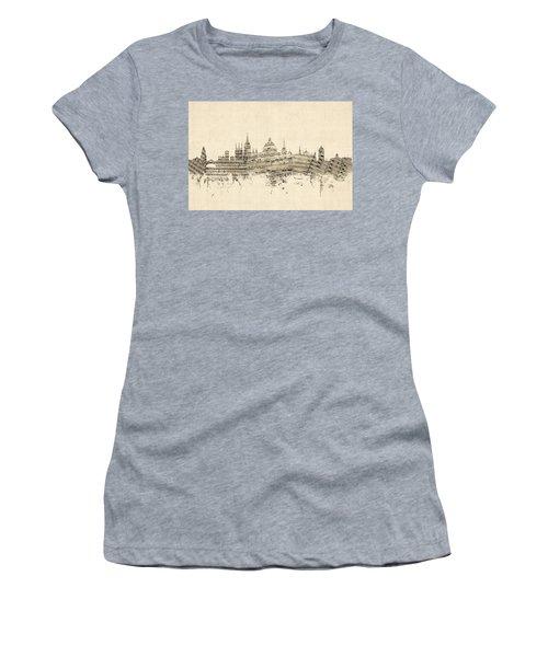 Oxford England Skyline Sheet Music Women's T-Shirt