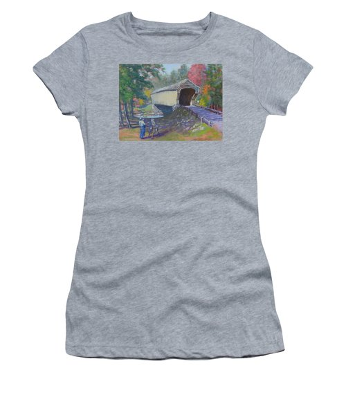 Painting Covered Bridge  Women's T-Shirt (Athletic Fit)