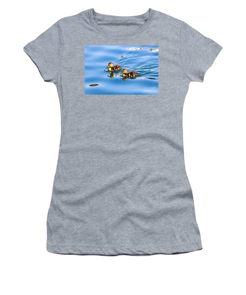 Women's T-Shirt featuring the photograph Duckling Duo by Kate Brown