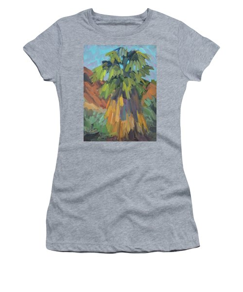 Women's T-Shirt (Junior Cut) featuring the painting Palm At Santa Rosa Mountains Visitors Center by Diane McClary