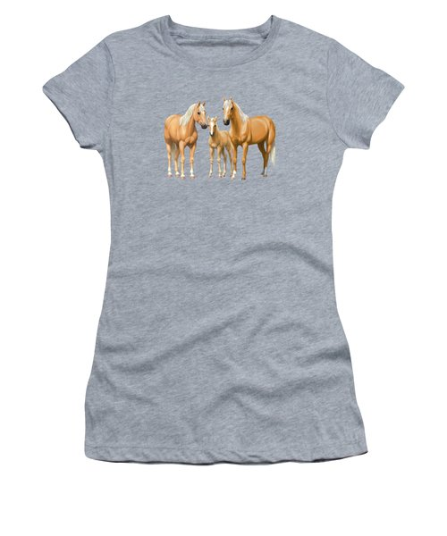 Palomino Horses In Winter Pasture Women's T-Shirt (Athletic Fit)