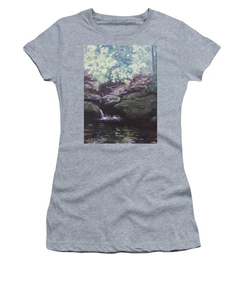 Women's T-Shirt (Junior Cut) featuring the painting Paris Mountain Waterfall by Robert Decker
