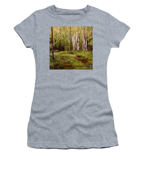 Path To The Birches Women's T-Shirt (Junior Cut) by Laurie Rohner