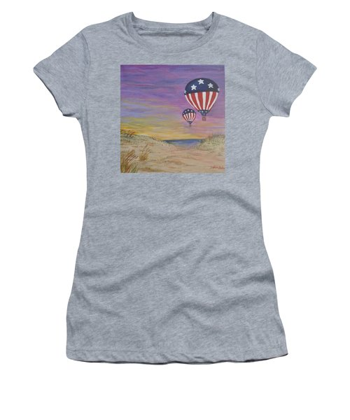 Women's T-Shirt (Junior Cut) featuring the painting Patriotic Balloons by Debbie Baker