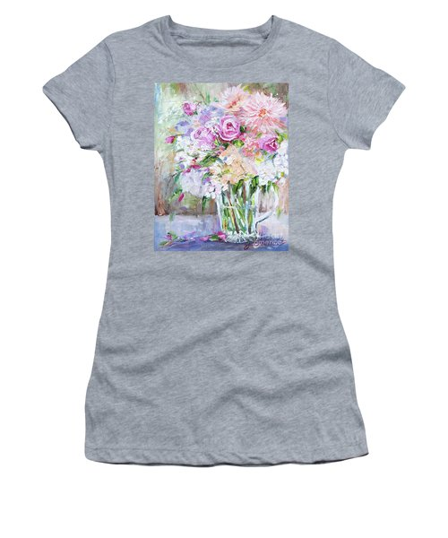 Peach And Pink Bouquet Women's T-Shirt (Junior Cut) by Jennifer Beaudet