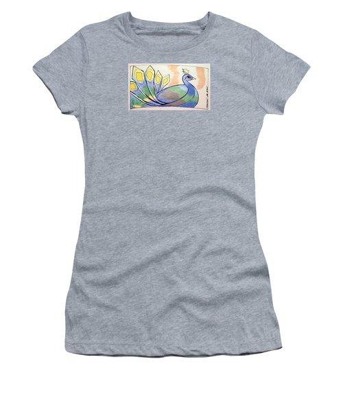 Peacock Women's T-Shirt (Junior Cut) by Loretta Nash