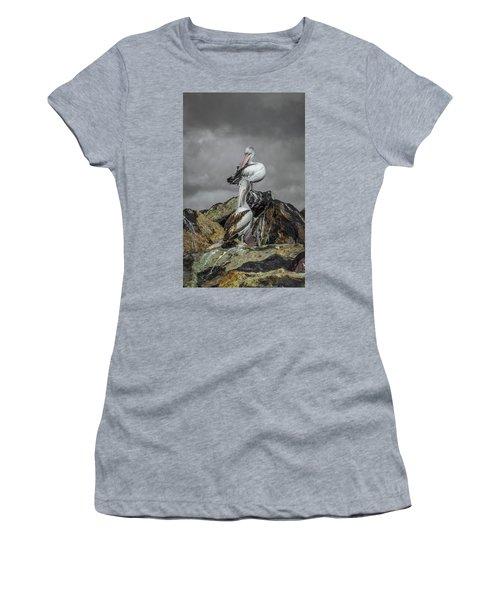 Pelicans On Rocks Women's T-Shirt