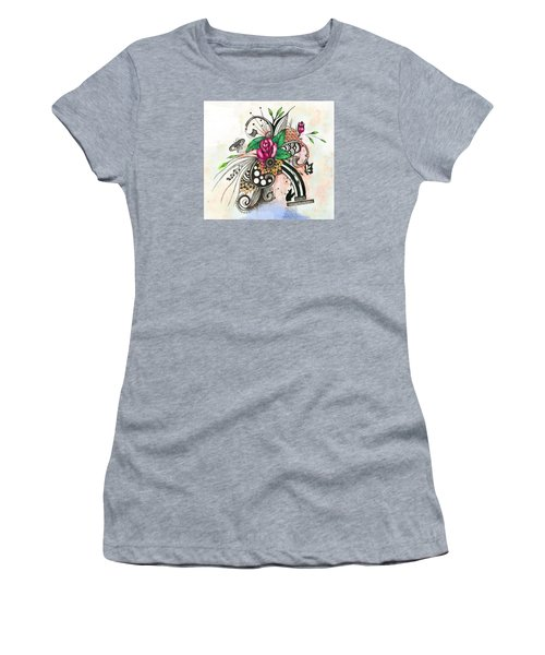 Pen And Ink Drawing Rose Colorful  Art Women's T-Shirt (Junior Cut) by Saribelle Rodriguez