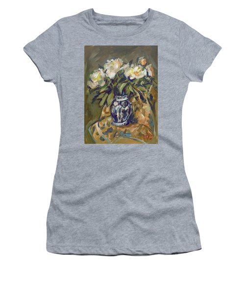 Peonies In Delft Blue Vase On Quilt Women's T-Shirt (Athletic Fit)