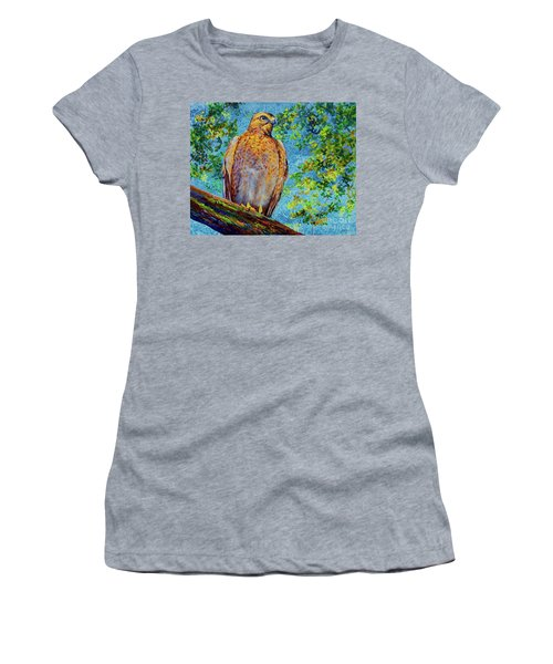 Women's T-Shirt (Junior Cut) featuring the painting Perched Hawk by AnnaJo Vahle
