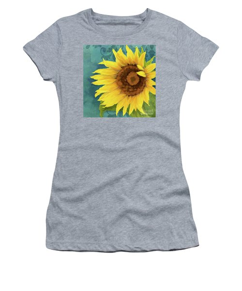 Women's T-Shirt (Athletic Fit) featuring the painting Perfection - Russian Mammoth Sunflower by Audrey Jeanne Roberts