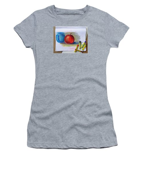 Women's T-Shirt (Junior Cut) featuring the drawing Petit Exercice En Pastel L'huile by Ginny Schmidt