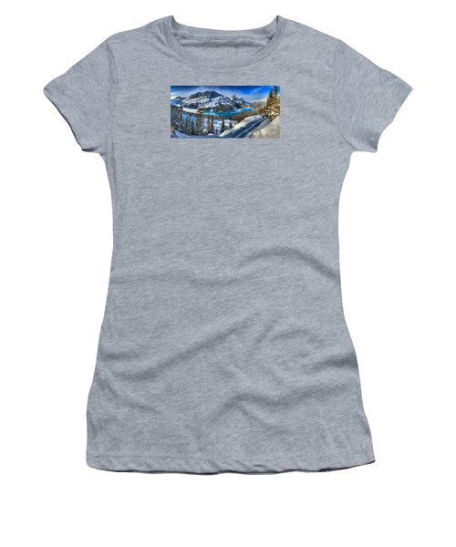 Peyto Lake Winter Panorama Women's T-Shirt (Junior Cut) by Adam Jewell
