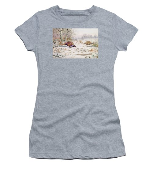 Pheasant And Partridge Eating  Women's T-Shirt (Junior Cut) by Carl Donner
