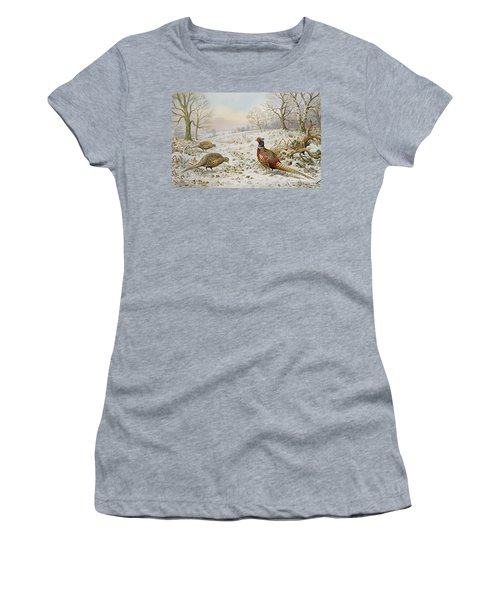 Pheasant And Partridges In A Snowy Landscape Women's T-Shirt (Junior Cut) by Carl Donner