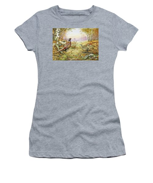 Pheasants In Woodland Women's T-Shirt (Athletic Fit)