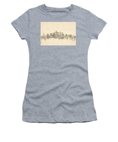 Philadelphia Pennsylvania Skyline Sheet Music Cityscape Women's T-Shirt (Athletic Fit)