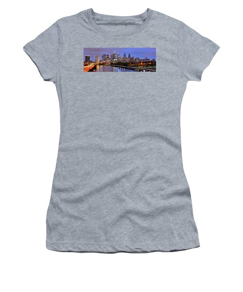 Philadelphia Philly Skyline At Dusk From Near South Color Panorama Women's T-Shirt (Athletic Fit)