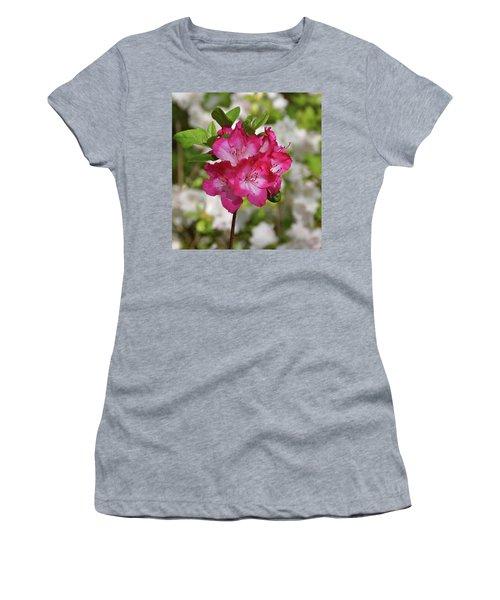 Women's T-Shirt (Junior Cut) featuring the photograph Pink Azalea by Sandy Keeton