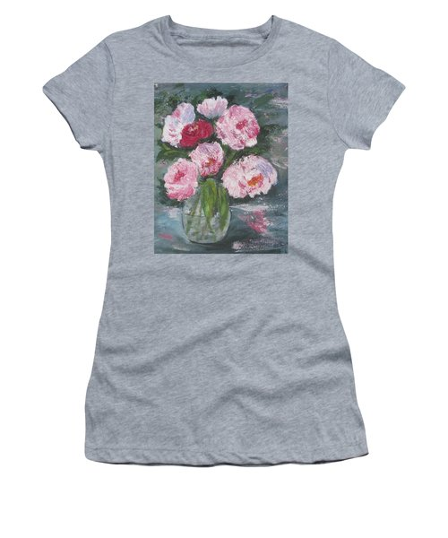 Pink Peonies Women's T-Shirt (Athletic Fit)