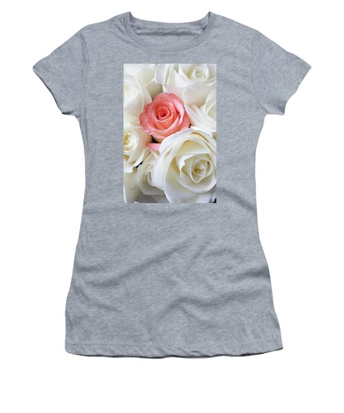 Pink Rose Among White Roses Women's T-Shirt