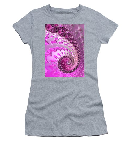 Pink Spiral With Lovely Hearts Women's T-Shirt