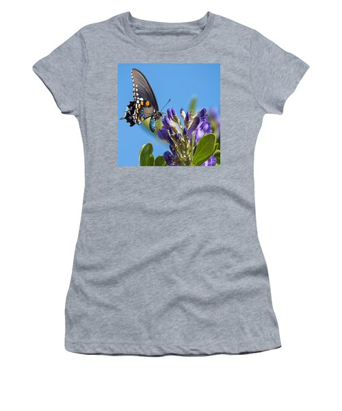 Women's T-Shirt featuring the photograph Pipevine Swallowtail On The Texas Mountain Laurel by Dan McManus