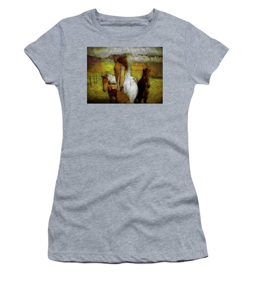 Women's T-Shirt (Athletic Fit) featuring the photograph Plateau Ponies by Bellesouth Studio