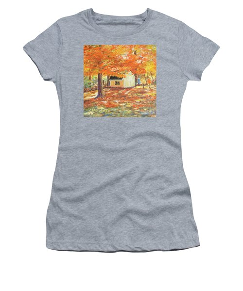 Women's T-Shirt (Junior Cut) featuring the painting Playhouse In Autumn by Carol L Miller