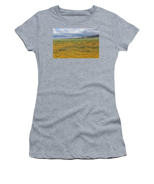 Women's T-Shirt (Junior Cut) featuring the photograph Poppies Field In Antelope Valley by Viktor Savchenko