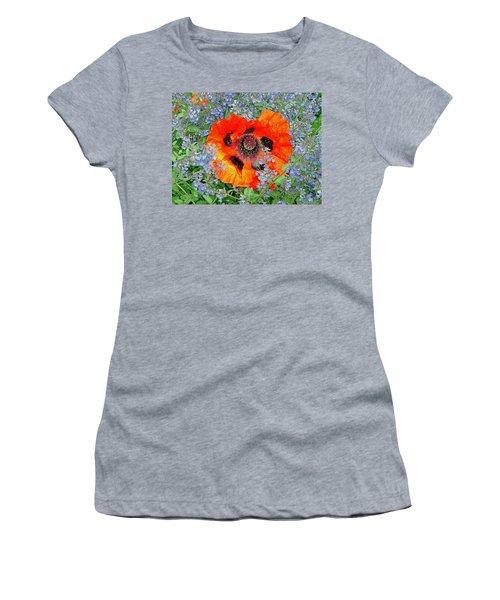 Poppy In Blue Women's T-Shirt (Athletic Fit)
