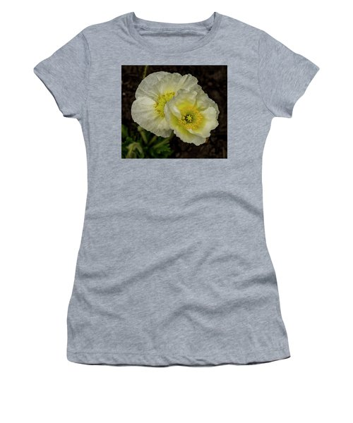 Women's T-Shirt (Athletic Fit) featuring the photograph Poppy Pair by Jean Noren