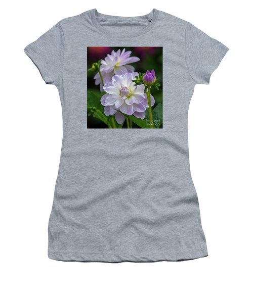 Porcelain Dahlia With Dewdrops Women's T-Shirt (Athletic Fit)