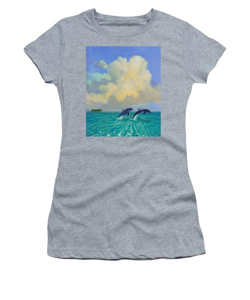 Women's T-Shirt (Junior Cut) featuring the painting Porpoiseful Play by David  Van Hulst
