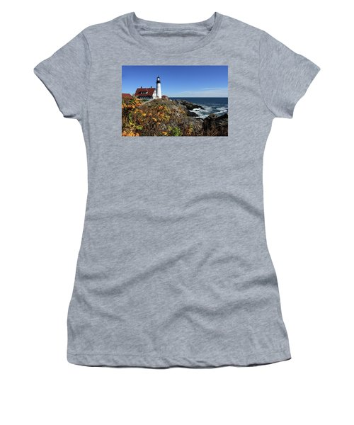 Portland Head Lighthouse In The Fall Women's T-Shirt (Athletic Fit)