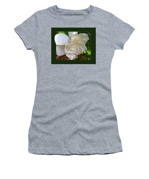 Portrait Of A Gardenia Women's T-Shirt (Junior Cut) by Ginny Schmidt