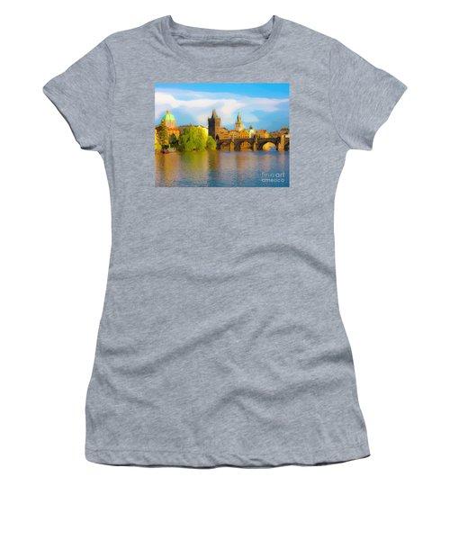 Women's T-Shirt (Junior Cut) featuring the photograph Praha - Prague - Illusions by Tom Cameron