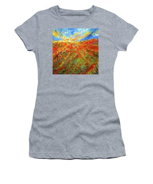 Prairie Sunrise - Poppies Art Women's T-Shirt