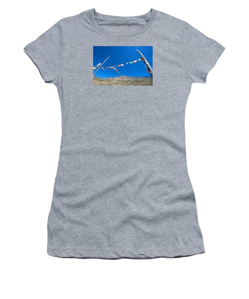 Women's T-Shirt (Athletic Fit) featuring the photograph Prayer Flag by Yew Kwang