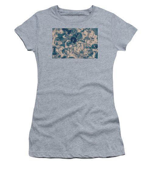 Projected Abstract Blue Thumbtacks Background Women's T-Shirt
