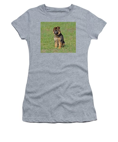 Women's T-Shirt (Junior Cut) featuring the photograph Puppy Halo by Sandy Keeton