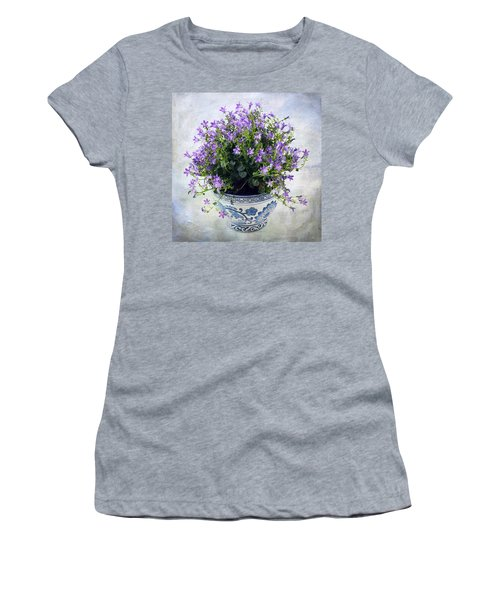 Women's T-Shirt (Junior Cut) featuring the photograph Purple Flowers In Pot by Catherine Lau