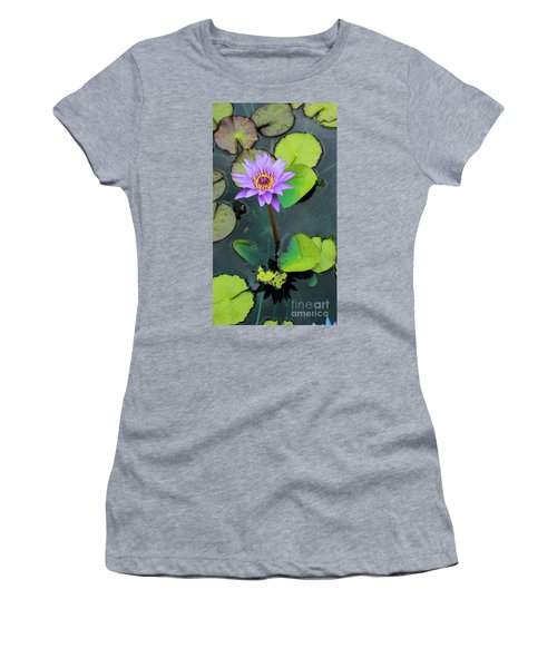 Purple Lilly With Lilly Pads Women's T-Shirt (Athletic Fit)