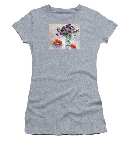 Purple Petunias And Oranges Women's T-Shirt (Athletic Fit)