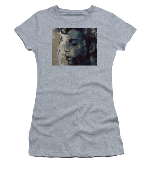 Women's T-Shirt (Junior Cut) featuring the mixed media Purple Rain - Prince by Paul Lovering